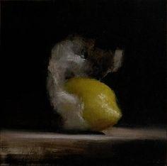 Neil-Carroll-Original-Oil-Painting-Realism-Still-Life-Wrapped-Lemon
