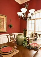 Pretty Dining Room Paint Colors Using Color Gradation: Great Red White Dining Room Paint White Dining Room Paint, Orange Dining Room, Dining Room Paint Colors, Dining Room Design, Dining Rooms, Mediterranean Home Decor, Tuscan Decorating, Dining Room Inspiration, Dining Room Lighting
