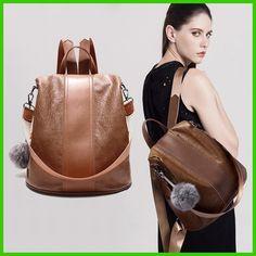 Genuine Leather Women Backpack School Bags For Teenagers Girls Fashion Vintage Anti-theft Shoulder bags Brand feminine Mochila