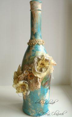 Scraps of Darkness & Scraps of Elegance scrapbook kits - DIY Mixed Media Altered Wine Bottle Tutorial by Elena Olinevich.