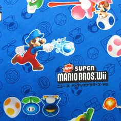 SUPER Mario fabric Blue color Half yard Special offer for limited items by HanamiBoutique on Etsy https://www.etsy.com/transaction/1051696807