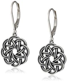 Sterling Silver Oxidized Celtic Knot Lever-Back Drop Earrings * Want to know more, click on the image.