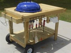 13 Brilliant Ways to Store Grill Tools weber kettle work table Barbecue Weber, Diy Grill, Akorn Grill, Kamado Grill, Outdoor Grill Station, Grill Cart, Ikea Bar, Weber Kettle, Bbq Table