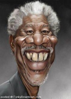 Morgan Freeman Cartoon Caricature ~Love the teeth in this one! Cartoon Faces, Funny Faces, Cartoon Drawings, Cartoon Art, Horse Drawings, Caricature Artist, Caricature Drawing, Drawing Art, Funny Caricatures