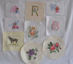 Finished / Completed Cross Stitch - Set of 8 small cross stitches crossstitch counted cross stitch