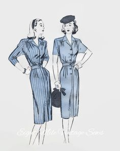 Vintage Butterick 2984 Sewing Pattern - UNCUT - Misses Tailored Shirtwaist Dress - 1940s Sewing Pattern - Size 20 Bust 38 Hip 41 - Day Dress by EightMileVintageSews on Etsy