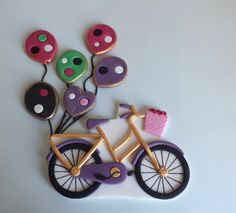 Fondant Bicycle Cake Topper with Pink and Purple by allsugarheart