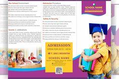 FREE tri fold brochure school Design . File formats: PSD, AI, CDR, PDF