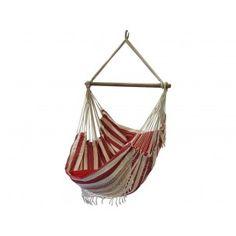 Hangstoel Nautica Red met franjes. € 99,99 Topkwaliteit Braziliaanse hangstoel met sierrand, franje. Prachtige nautisch rode kleuren gecombineerd met de natuurlijke kleur van katoen. Super degelijk en oer sterk, ambachtelijk gemaakt.