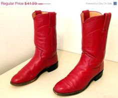 Presidents Day SALE Red leather Roper style par honeyblossomstudio, $33.59