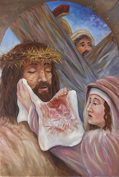 "Station ""Veronica wipes the face of Jesus"" by Randy Friemel Oil ~ 24 x 16 Religious Images, Religious Art, St Veronica, Holy Saturday, Jesus Christ Images, Jesus Painting, Jesus Face, Christian Religions, Biblical Art"