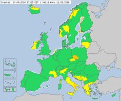 Valid for 11.09.2016 Meteoalarm - severe weather warnings for Europe - Mainpage