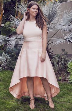 Main Image - Eliza J Crepe & Mikado High/Low Gown (Plus Size)