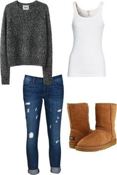 llego invierno vistete a la moda con: chamarra gris,jeans un poco rotos remangados,camiseta blanca larga y unas botas marrones acojibles