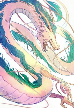 Buy 'Haku' by KatieOurMatie as a T-Shirt Classic T-Shirt Tri-blend T-Shirt Lightweight Hoodie Women's Fitted Scoop T-Shirt Women's Fitted V-Neck T-Shirt Women's Relaxed Fit T-Shirt Graphic T-Shirt Women's Chiffon Top Contrast Tank. Studio Ghibli Art, Studio Ghibli Movies, Mythical Creatures Art, Fantasy Creatures, Dragon Oriental, Chihiro Y Haku, Cool Dragons, Dragon Artwork, Dragon Pictures