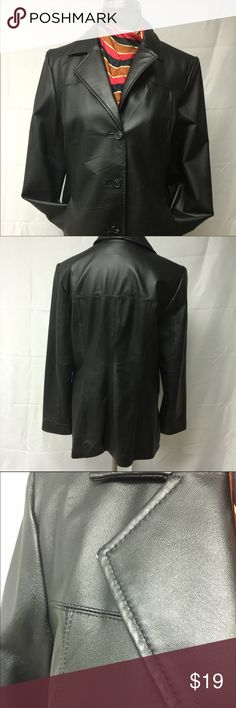 Genuine Leather Jacket Single breasted , side pockets with princess cut Max USA Jackets & Coats