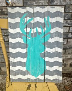 Chevron+Stag+Reclaimed+Wood+Sign+Handpainted+by+j2jlocals+on+Etsy,+$42.00