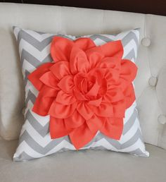 Coral Dahlia on Gray and White Zigzag Pillow -Chevron Pillow-. $35.00, via Etsy.