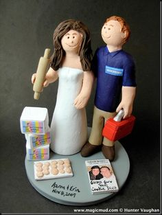 """The Duchess of Dough is to be wed!!!    …she is marrying her most handy """"garage guru"""" who is shown with his red tool kit in hand…ready to fix anything! $235 #baker#handyman#wedding #cake #toppers  #custom #personalized #Groom #bride #anniversary #birthday#wedding_cake_toppers#cake_toppers#figurine#gift"""
