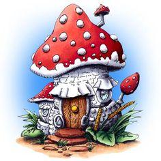 Make It Crafty: Mushroom House digi stamp Mushroom House, Mushroom Art, Cartoon Mushroom, Image 3d, House Drawing, Fairy Art, Digi Stamps, Fairy Houses, Doodle Art
