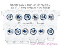 Baby Monthly Milestone Growth Stickers Navy by GinaMarieOriginals