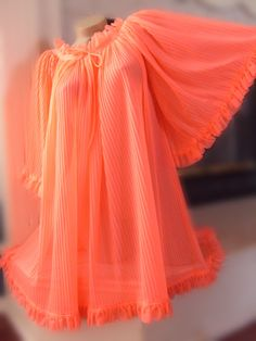 60s Babydoll Nightgown Nylon Day Glo Orange Pink Crystal by ehappy, $38.00