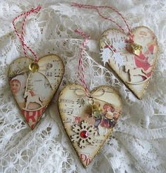 Christmas heart ornaments or tags. via Scrap From Your Heart Handmade Christmas Crafts, Christmas Fabric Crafts, Shabby Chic Christmas, Valentine Day Crafts, Love Valentines, Valentine Decorations, Holiday Crafts, Christmas Hearts, Christmas Ornaments
