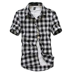 New 2016 new Fashion Linen short-sleeved shirts men casual slim fit shirts for men checked shirt,big size M-5XL
