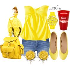 Disney Theme Park Summer Outfit: Belle by natihasi on Polyvore featuring Vero Moda, J.Crew, Grafea, VANINA, Ice-Watch, Mossimo Supply Co. and Disney