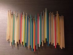 For alec - Drum stick art work recycling Music Studio Musical, Music Studio Decor, Home Studio Music, Music Decor, Sound Studio, Drums Studio, Studio Room, Drum Room, Guitar Room