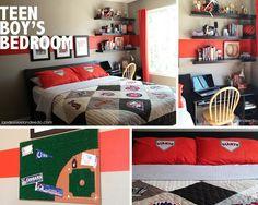 Landee See, Landee Do: Teen Boy Bedroom Reveal. Love this baseball room! Boys Bedroom Decor, Teen Bedroom, Bedroom Ideas, Bedrooms, Bedroom Small, Bedroom Designs, Ikea Billy Bookcase, Deep Breath, Teen Boys