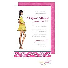 47 best pregnant baby bump invitations images on pinterest pregnant momma baby shower invitation pink silhouette baby bump brown hair from little angel announcements filmwisefo