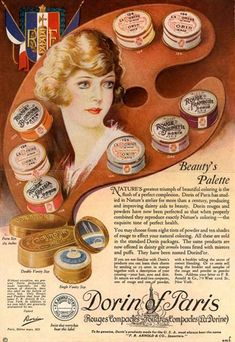 Dorin Rouge 1922 Advertisement for Dorin of Paris rouge. Ten shades of rouge not all of which are shown. The variation in packaging colours for each of the shades follows a similar idea used by Bourjois.
