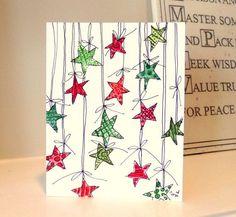 aquarell weihnachten Christmas Stars Watercolor Original 4 x 6 Card by betore originals Homemade Christmas Cards, Christmas Crafts For Gifts, Christmas Cards To Make, Xmas Cards, Diy Cards, Homemade Cards, Christmas Diy, Christmas Stars, Christmas Lights