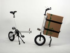 Cargo bicycle - concept bike - barrow on Behance Velo Vintage, Vintage Bicycles, Three Wheel Bicycle, Velo Cargo, Cargo Transport, Folding Bicycle, Bicycle Design, Car Wheels, Baby Strollers