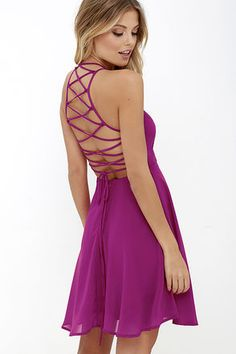 LuLu*s Exclusive! Reward your good behavior with a treat like the Good Deeds Magenta Lace-Up Dress! Dreamy, lightweight Georgette sweeps across a princess-seamed bodice and strappy apron neckline, plus a lacing open back. Full skater skirt has a bit of elastic at back. Hidden back zipper.