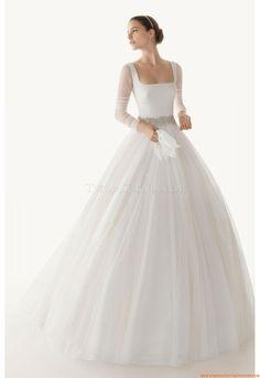 Robe de mariée princesse Tulle Traine Courte Moderne Col U Profound