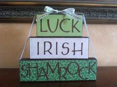 St. Patrick's Day Block Stacker - Luck, Irish, Shamrock  - Seasonal/Home decor for March. $19.00, via Etsy.