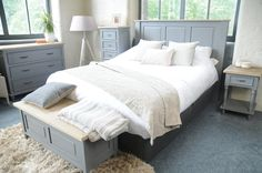 Free delivery over to most of the UK ✓ Great Selection ✓ Excellent customer service ✓ Find everything for a beautiful home King Headboard, Homestead Living, Repurposed Furniture, King Size, Beautiful Homes, Shabby Chic, Grey, Beds, Interiors