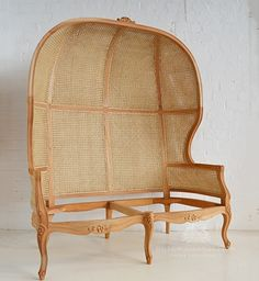 Traditional Rattan Porters Chair, double / 2 Seater Hall Porters Chair with Rattan / Dutch Connection
