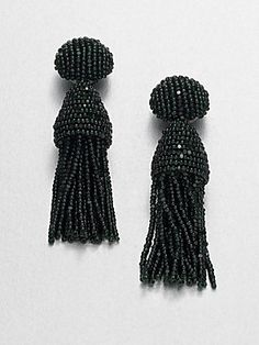 Oscar de la Renta Short Tassel Clip-On Earrings/Green