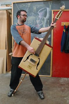 making an electric upright bass out of a vintage suitcase