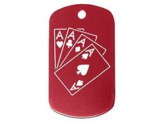 Playing Cards 4 Aces Red Dog Tag Military ID K9 Custom Laser Engraved By Ndz Performance *** Click image for more details. (Note:Amazon affiliate link)