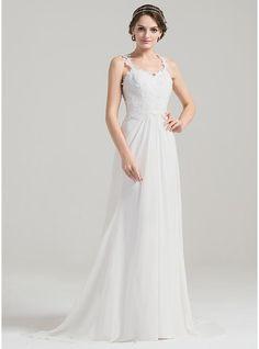 A-Line/Princess Sweetheart Sweep Train Chiffon Wedding Dress With Ruffle Appliques Lace