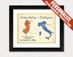 Moving Away from Home Gift Print, Personalized Map Gift for Best Friend, 8x10 Print