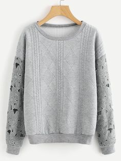 Shop Flower Pattern Hollow Out Sleeve Sweatshirt online. SheIn offers Flower Pattern Hollow Out Sleeve Sweatshirt & more to fit your fashionable needs. Crop Top Sweater, Fleece Sweater, Pullover Sweaters, Sweatshirts Online, Hoodies, Kawaii Clothes, Grey Sweatshirt, Cute Tops, Flower Patterns