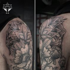 Mandala on my friend Mic Black Tattoos, Mandala, Flowers, Black Art Tattoo, Royal Icing Flowers, Flower, Back Tattoos, Florals, Mandalas