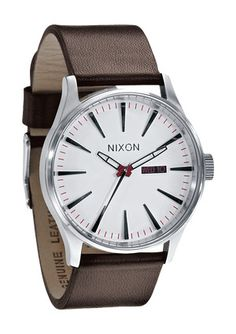 The Sentry Leather - White | Nixon (yes, babe- You left your Pinterest open and I put this in here).  Hubby xoxox