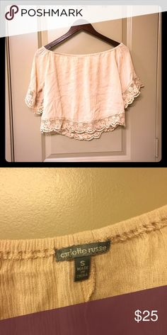 Pale Pink Off The Shoulder Boho Top Brand new, never worn. Pale pink off the shoulder top with lace trim. Let me know if you have any questions!  Charlotte Russe Tops Crop Tops