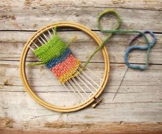 Embroidery hoop weaving loom